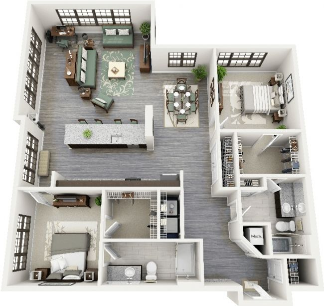 50 plans 3d d 39 appartement avec 2 chambres architecture for Plan bungalow 1 chambre