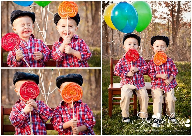 Twin toddler boys 3 year old birthday photo session, giant swirl suckers, balloons, red plaid shirt, newsboy hat