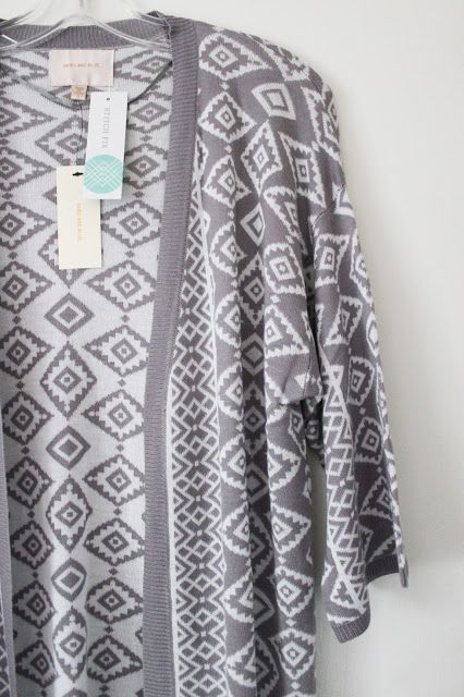 Spring Forward 2016 Stitch Fix Review and Gift Card Giveaway! Boho Casual Chic Skies are Blue Grey and White Open Fringe Cardigan
