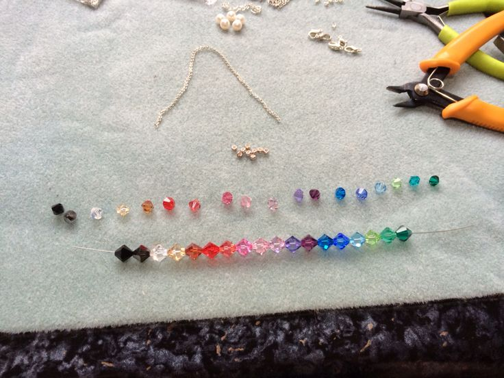 Playing with rainbow colours in Swarovski bicones #design #unique #create #make #GGJewellery
