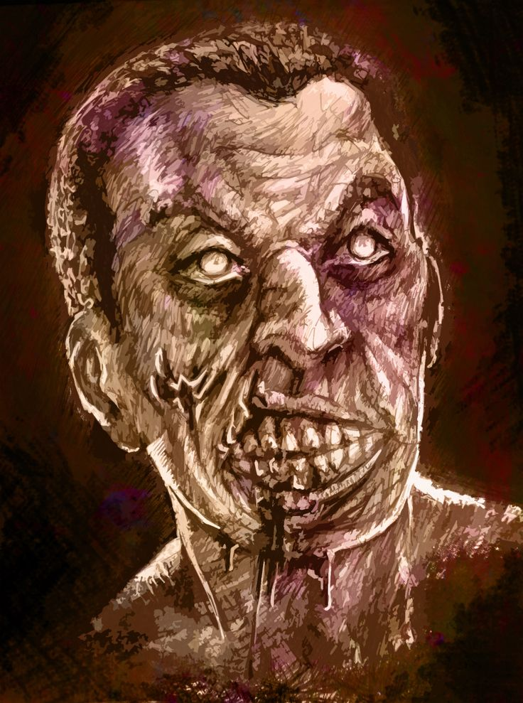 Zombie Face - Sketched with normal blue pen and edited on photoshop later