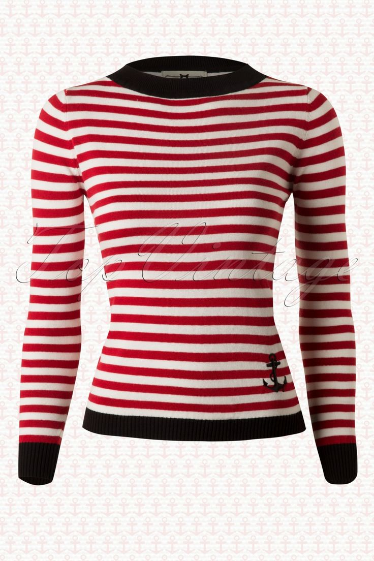 Collectif Clothing - 50s Sarah Nautical Jumper in Red. Retro Nautical