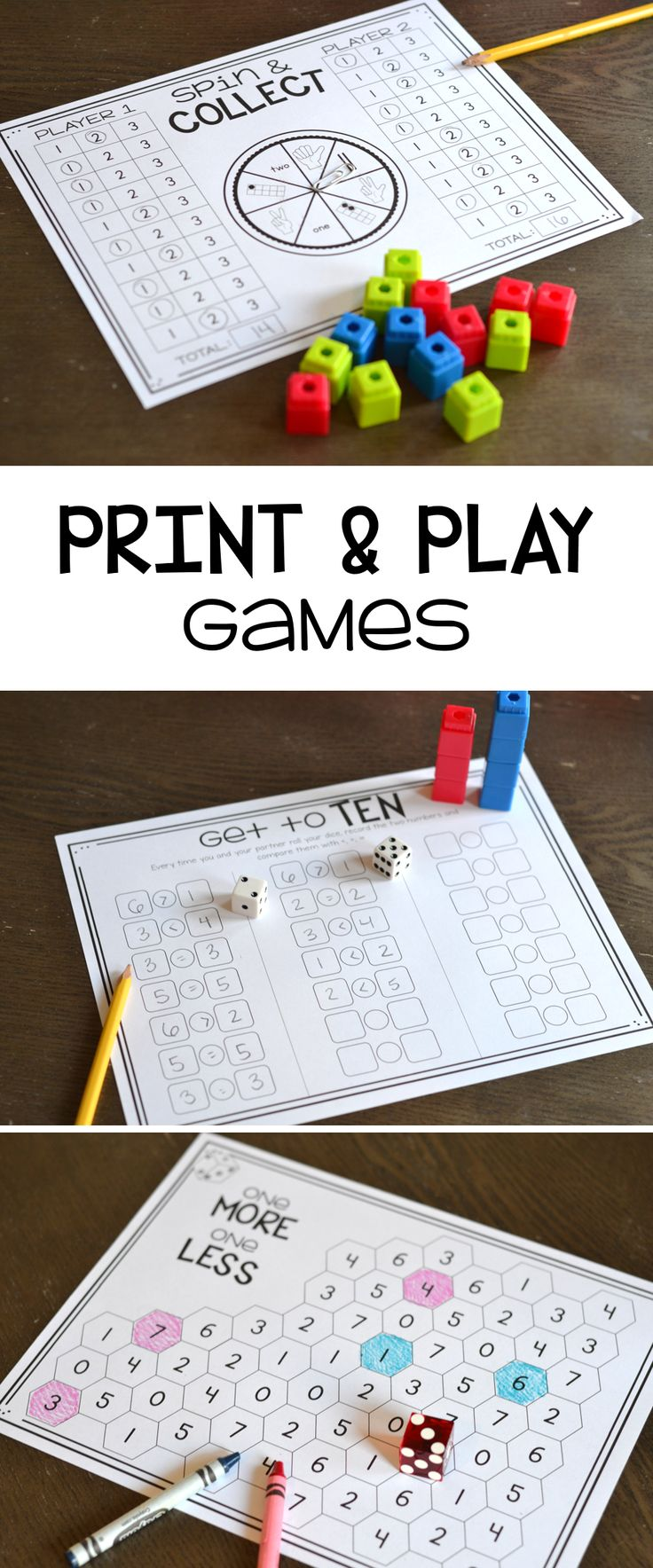 Tons of print and play math games for addition, subtraction, numbers sense, place value and more!