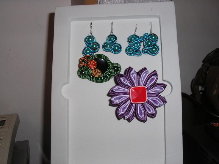 Handmade Kanzashi flower - Soutache