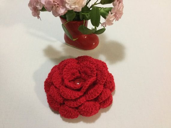Large crochet rose crochet appliqué flower appliqué by JilaCrochet