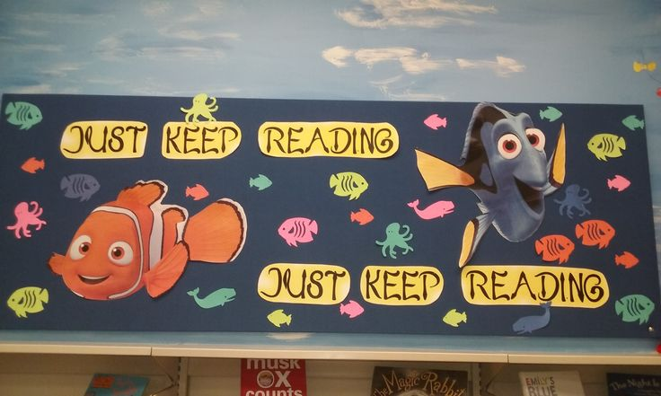"Library Bulletin Board added 8.3.2016. ""Just Keep Reading, Just Keep Reading"" created by @clayton_PCDL"
