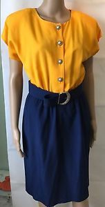 Vintage Ladies Dress Yellow Blue Belted Retro Career Wear Chic One Piece  | eBay