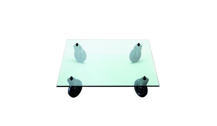 Fontana Arte - Tavolo con Ruote Coffee Table on Rubber Wheels - transparent/glass/Size 3/120x120cm