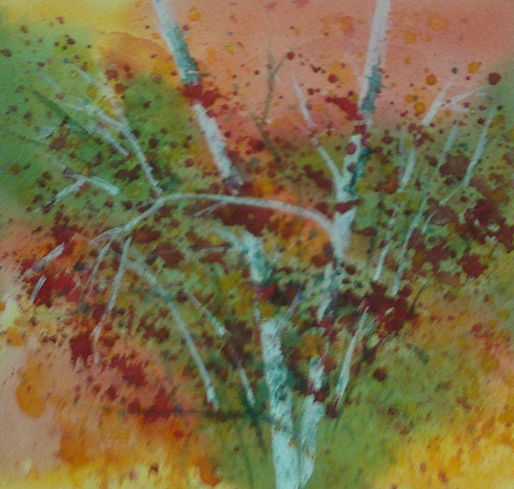 Acuarela sumi-e Árboles rojos 19 x 18 cm