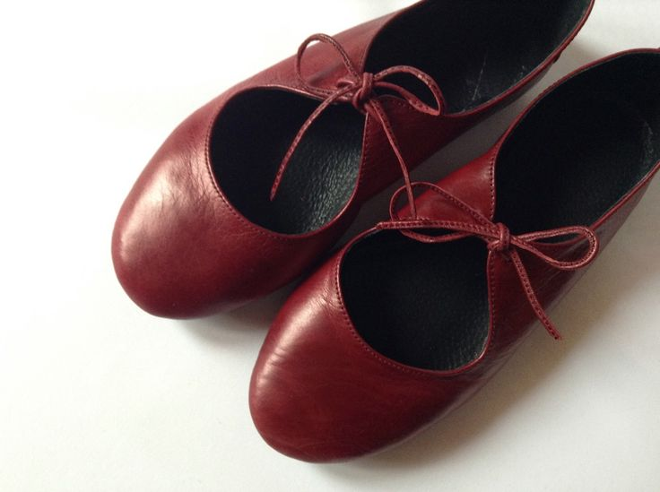 Passion - Deep Red Ballet flats — The Drifter Leather handmade shoes