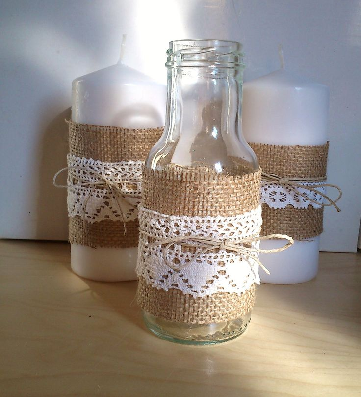 Jar with Burlap, Lace and Twine, for Decor at Home, Wedding, Baby Shower, and Other Special Occasions, Country/Rustic style. €4.00, via Etsy.