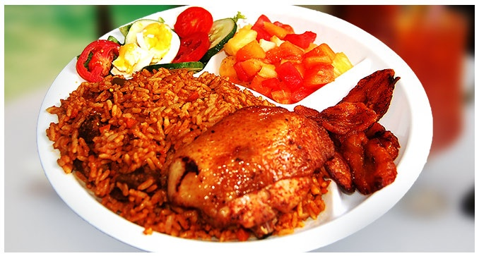 Dealdey Delicious Meal For Two Delivered Jollof Rice Chicken Plantain Amp Salad Yummy Food