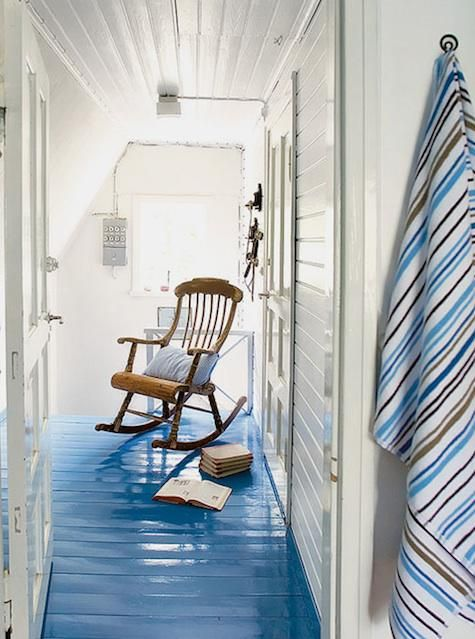 I just LOVE this high gloss blue painted wood cottage floor...great way to treat a wooden floor that is too marred or stained