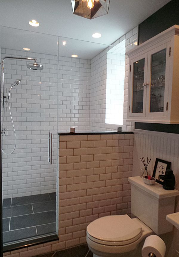 Thermostatic rain shower / Slate tiles / Beveled subway tiles / Pony wall / Walk-in shower / Bathroom design {Apple a Day Beauty} @jo Kohler Co.