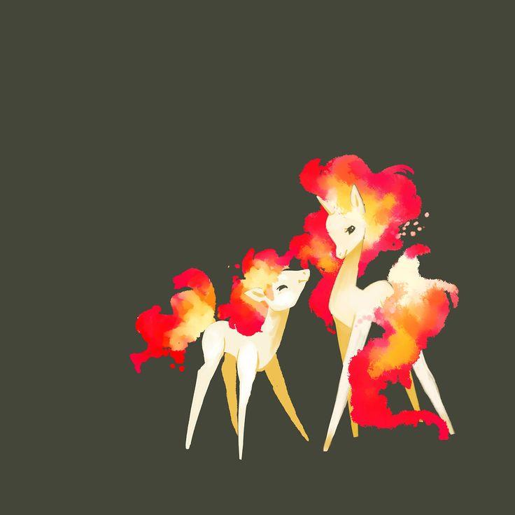 Ponyta & Rapidash art. Interesting way to draw them
