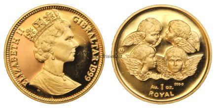 GIBILTERRA - Elisabetta II - 1 Royal 1999 (oncia d'oro) - D/ Elisabetta II con corona gotica a s. - data; R/ 4 cherubini - peso e valore - Peso 31.1030 g - Titolo 9999 millesimi - Diametro 32.7 mm - Bordo zigrinato fine. Nella vasta coniazione moderna di Gibilterra, questa monetazione (Royal) iniziò nel 1991 nei tre metalli principali oro, argento e rame per terminare nel 2000; per alcuni anni vennero coniate monete con degli angeli ( singolo, due e quattro) ed è una delle poche monete con…