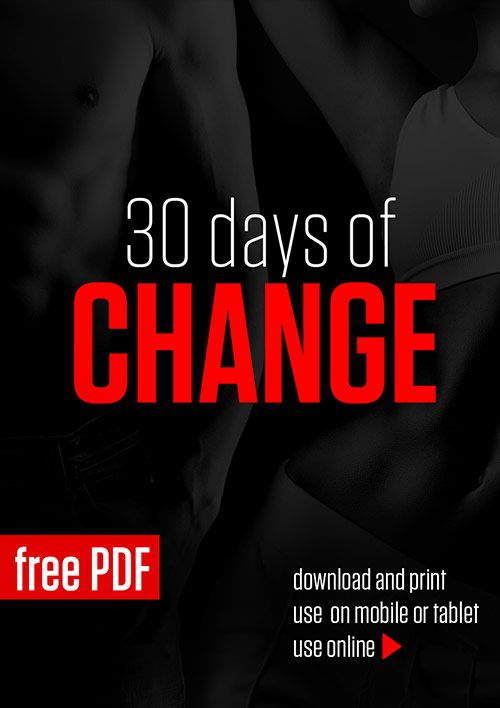 Free 30-day no-equipment training and diet program designed to change your eating and exercise habits as well as the way you look and feel.