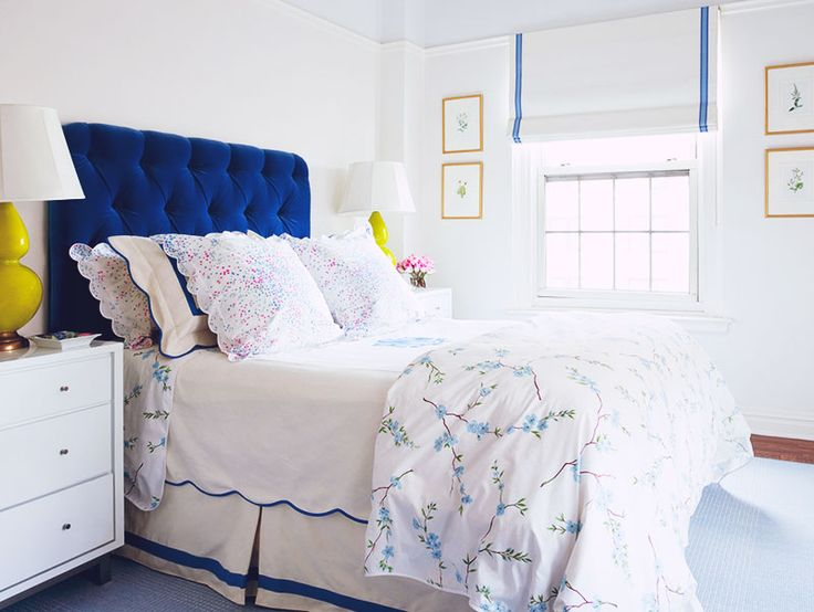Interior Design Inspiration : Lilly Bunn Interiors, New YorkGuest Room, Blue Velvet, Romans Shades, Tufted Headboards, Blue Bedrooms, Lilly Bunn, White Wall, Coastal Bedrooms, Blue Headboards