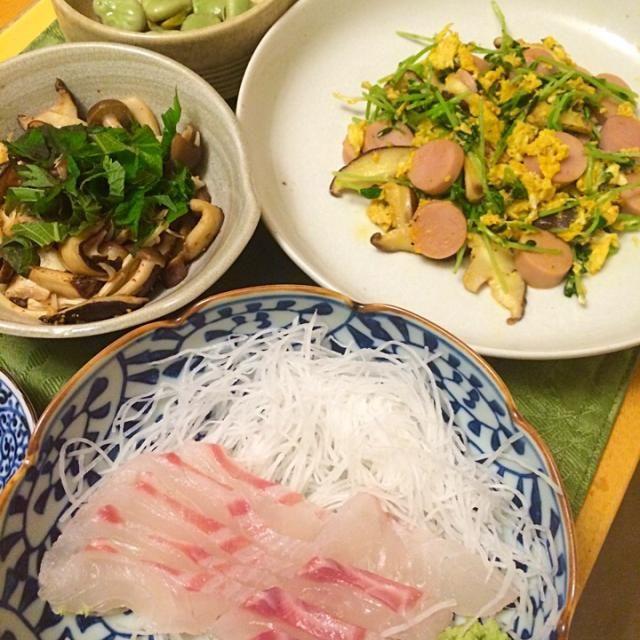 豆苗、椎茸、魚肉ソーセージ卵炒め。 キノコ七味ポン酢、空豆オーブン焼き。 - 10件のもぐもぐ - 鯛刺身、大王わさび農場わさびオロして。 by hiromange