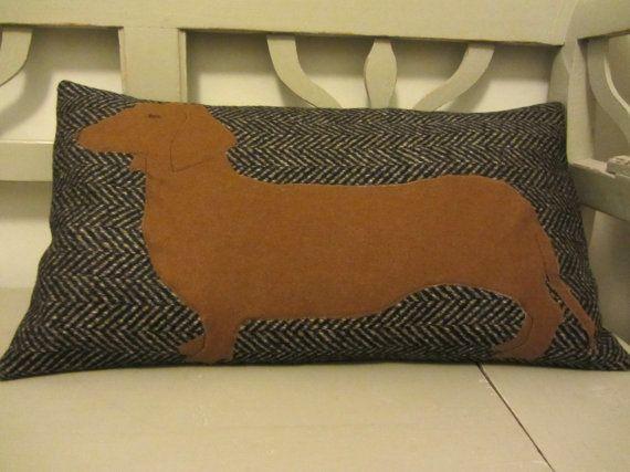 Dachshund pillow style cushion by FlaxandLoom on Etsy