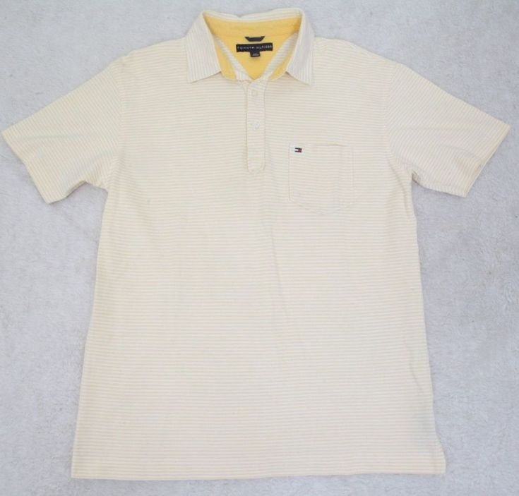 Tommy Hilfiger Pocket Polo Shirt White Yellow Short Sleeve Cotton Mens Striped #TommyHilfiger #PoloRugby