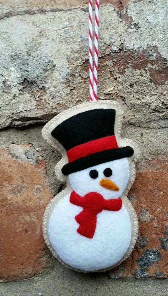Cute felt christmas snowman ornament
