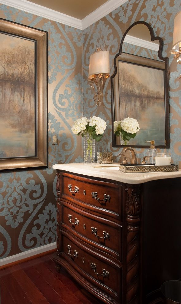 Marvelous Seabrook Wallpaper vogue Other Metro Traditional Powder Room Innovative Designs with beautiful elegance beige countertop bold dark cherry vanity Framed Artwork moroccan mirror Wallpaper