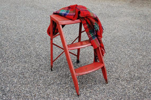 Vintage Red Metal Step Ladder, Folding Metal Step Stool, Mid Century Folding Ladder, 3 Step Ladder Rustic Farmhouse Industrial Plant Stand Table - SOLD! :)
