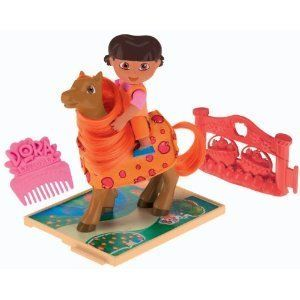 Dora's Pony Place Play Pack - Dora & Apple by Fisher-Price. $19.88. Brush the pony's mane and tail!. Collect all of Dora's Pony Adventure Playsets!. Connect the pathway and jumping fences to create your own special adventure!. Not suitable for children under 36 months-Small parts may be generated.. Product Description Saddle up, young explorers! It's time to set off on pony adventures with your favorite bilingual pal - Dora. Connect the pathway and jumping fences to c...