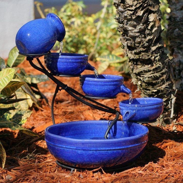 Smart Solar Blue Ceramic Cascade Outdoor Bird Bath Fountain | from hayneedle.com