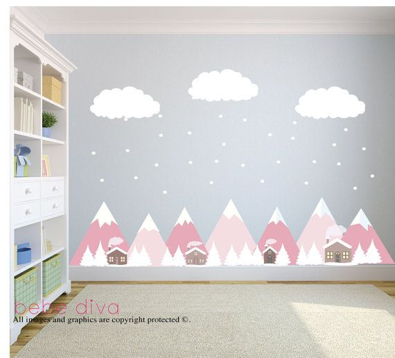 A great addition to any child's bedroom, play room, or nursery. ♥ Simply peel and stick - no fussy application ♥ Fully REMOVABLE and REUSABLE (unlike vinyl wall decals which can only be used once). ♥ Thin fabric wall decal – not PVC vinyl ♥ Leaves no residue and will not damage your walls like vinyl wall decals. ♥ Kid friendly, no formaldehyde, no VOCs, no phthalates WHAT'S INCLUDED > Mountains with trees - 100 x 22height > 3 Clouds - Each 18 width x 8 height > Snow > Total scene...