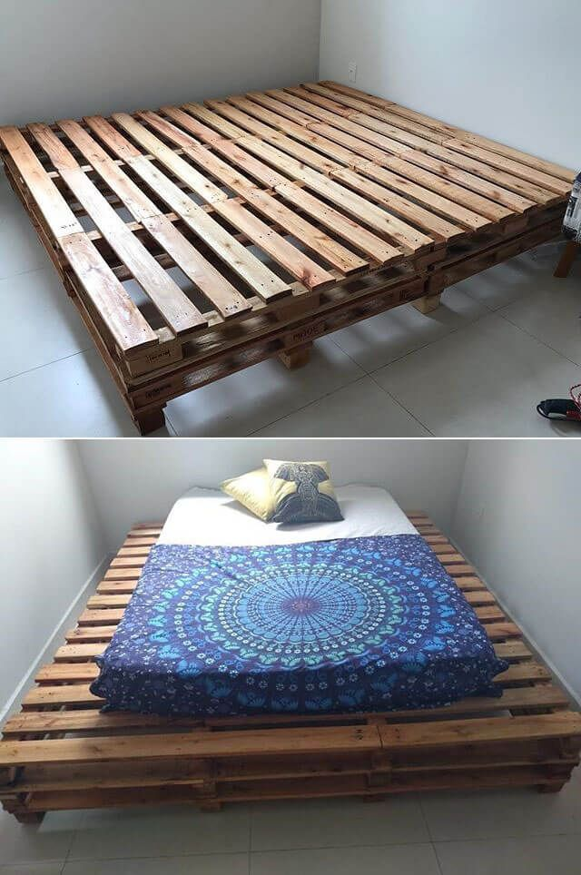 Low Cost Wood Pallets Reusing Ideas Pallet Bed Frames Bed Frame