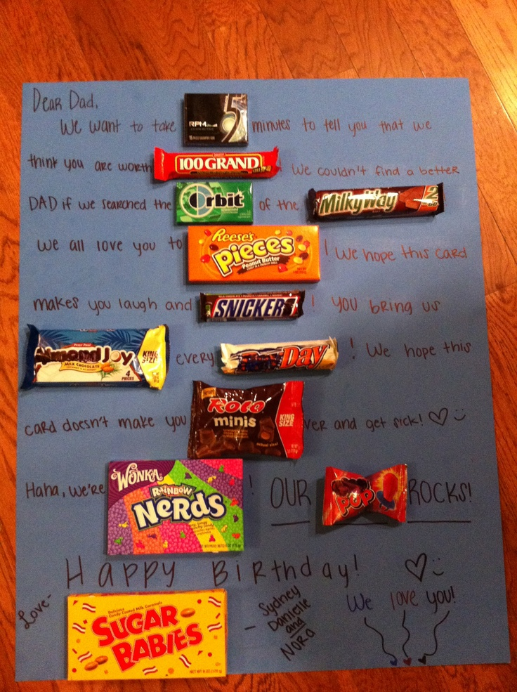 Birthday card to my dad! Made with candies as the words ...