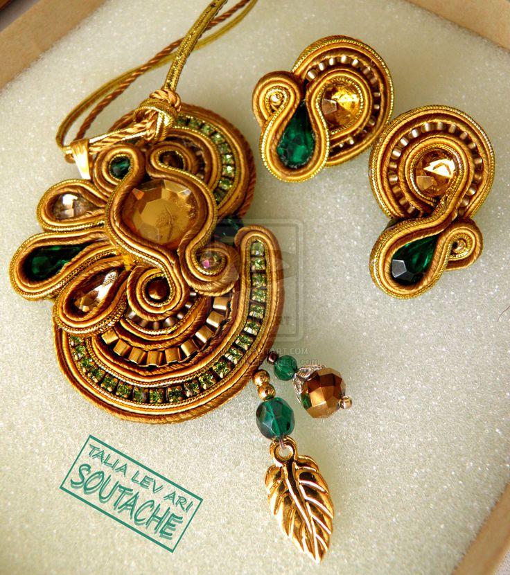 soutache handmade set of earrings and pendant by caricatalia.deviantart.com on @deviantART