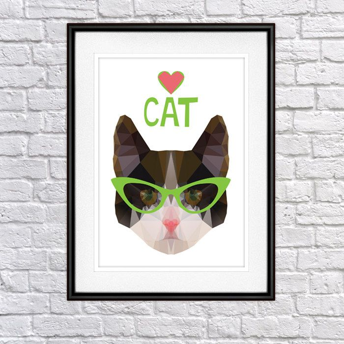 Cat with glasses Digital Poster Print, Wall Decor by PSIAKREW on Etsy