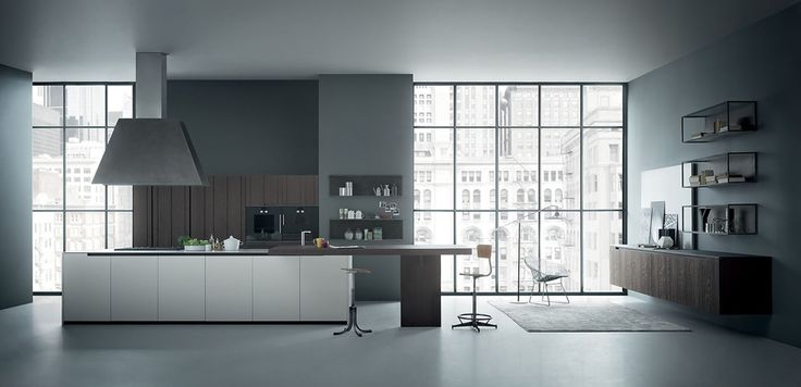 Zampieri - #Fifty kitchen in sanded burnt oak and pearl grey mat lacquer.