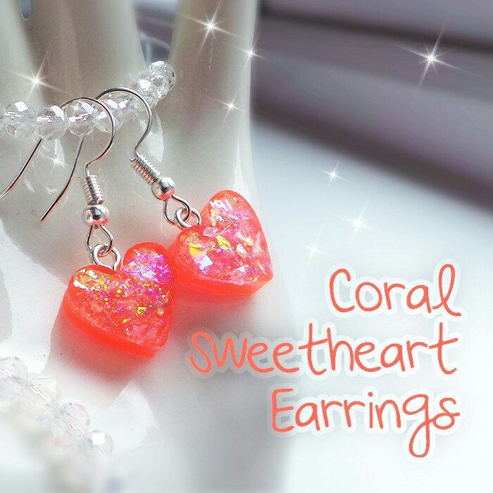 I have just made some little earrings in a new colour - bright coral! 💕
