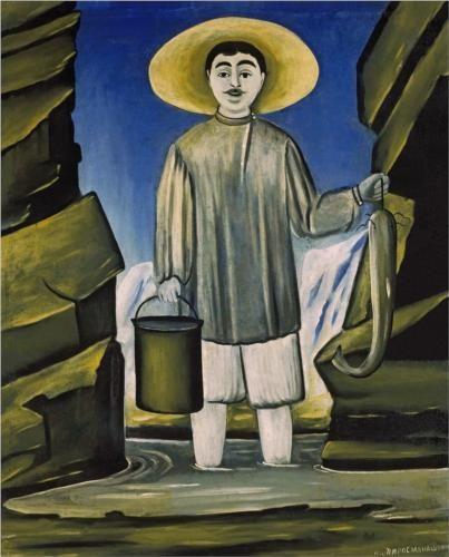 Fisherman among Rocks - Niko Pirosmani, 1906  Tretyakov Gallery, Moscow, Russia