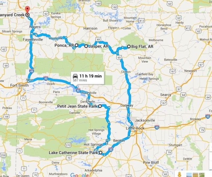 roadmap  Definitely an overnighter.  ?maybe Fayetteville area, Petit Jean or Lake Catherine.