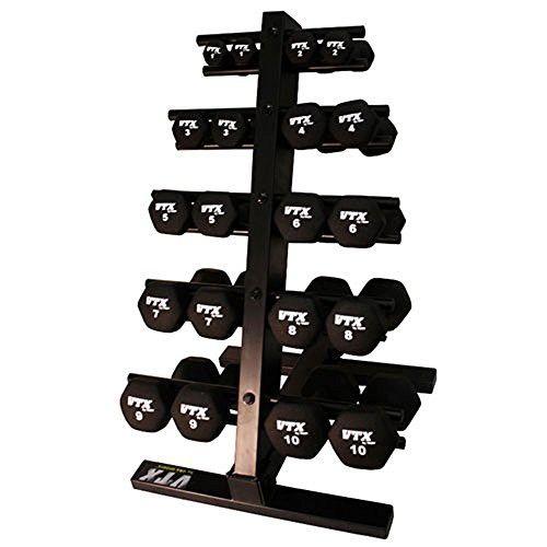 VTX by Troy Barbell Neoprene 1-10lb. Dumbbell Set with Rack
