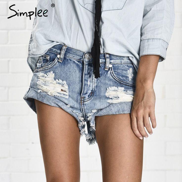 Simplee apparel vintage rasgado agujero franja azul denim shorts women casual pocket jeans shorts 2016 summer girl hot shorts
