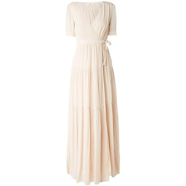 Ba&Sh  Nude Maxi Dress Uriel ($330) ❤ liked on Polyvore featuring dresses, loose maxi dress, short-sleeve maxi dresses, v neck maxi dress, v-neck dresses and pastel pink dress