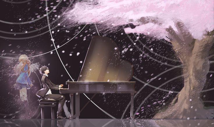 Anime Shigatsu Wa Kimi No Uso  Kaori Miyazono Cherry Blossom Your Lie In April Kousei Arima Wallpaper