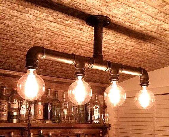 Tubería industrial lámpara techo cuatro bombillas de Edison negro agua hierro reciclado estilo Steampunk iluminación