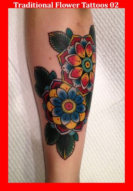 Traditional Flower Tattoos 02