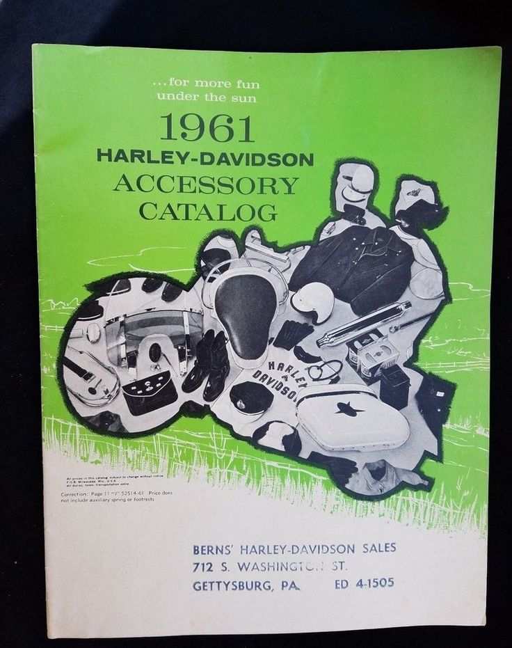 1961 ORIGINAL Harley Davidson Accessory Catalog Motorcycle Berns Gettysburg PA
