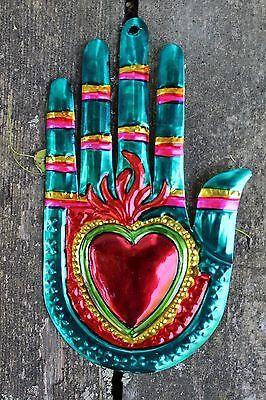 Mexicano Tin Milagros-se vende por separado-Manos & Flaming Corazones Oaxaca Folk Art