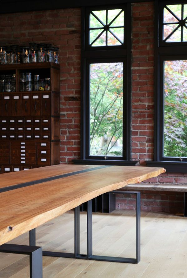 Steel and wood table-Love it!
