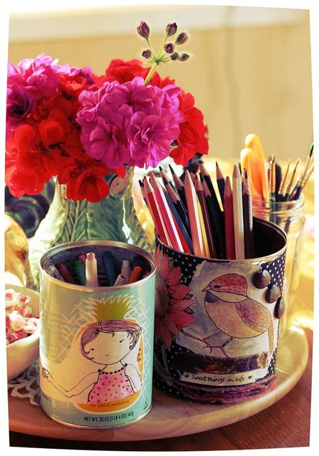Iron Craft # 8: Crafting w/ Recyclables. Tin can decoupage using original doodles by Lolly Q Williams on Flickr.