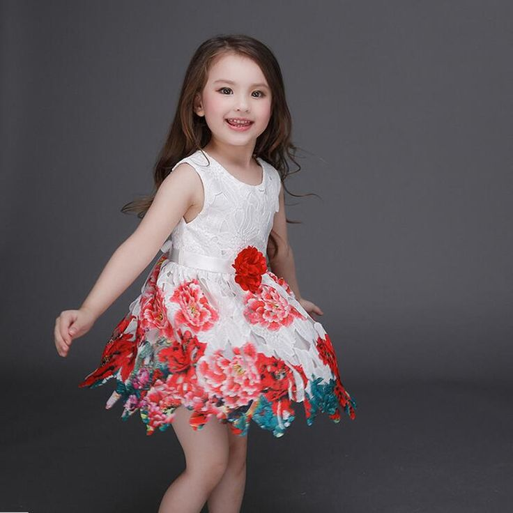 New 2016 Good Quality 3-13Years baby girls party princess White printing Brand dress o-neck A-line summer style lace Dresses | UNUM CLICK - Online Shopping for Electronics, Fashion, Home & Garden, Toys & Sports, Health & Beauty and more